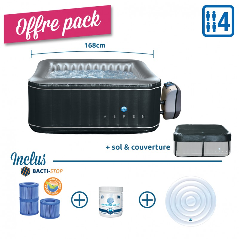 Pack Spa Gonflable Carre Netspa Aspen 4 Places Couvercle