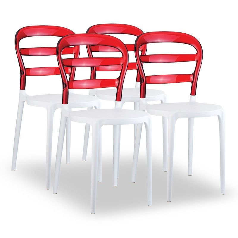 Set 4 Chaises JOLY- Rouge